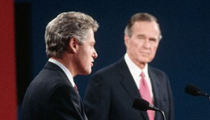 Arkansas Gov. Bill Clinton debating with President George H.W. Bush in 1992.