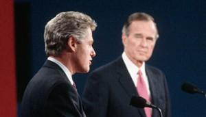 Arkansas Gov. Bill Clinton debating with President George H.W. Bush in 1992.