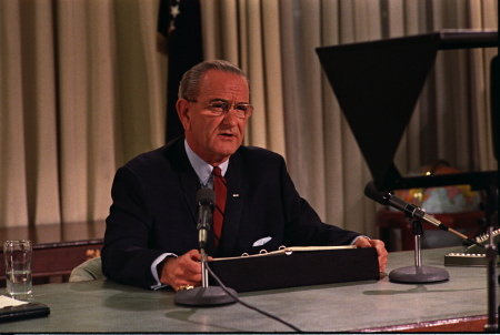 On March 31, 1968, President Lyndon Johnson announced that he would not seek reelection and devote the remainder of his presidency to bringing the Vietnam War to an end.  (Photo credit: LBJ Library by Yoichi Okamoto)