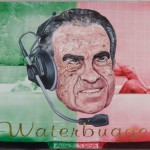 "President Richard Nixon in Robbie Conal's painting, ""Waterbugger,"" at robbieconal.com."