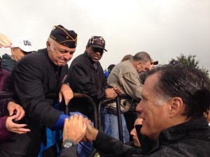 Republican presidential nominee Mitt Romney greeting veterans on the campaign trail. (Photo credit: mittromney.com)