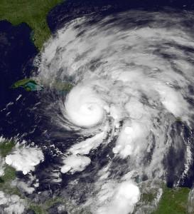 Hurricane Sandy as it approached the U.S. coastline. (Credit: NOAA Environmental Visualization Lab)