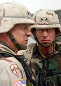 David Petraeus, a two-star general during the U.S. invasion of Iraq in 2003, with Lt. Gen. William S. Wallace.