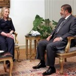 Egyptian President Mohamed Morsi meeting with U.S. Secretary of State Hillary Clinton in July 2012. (U.S. government photo)