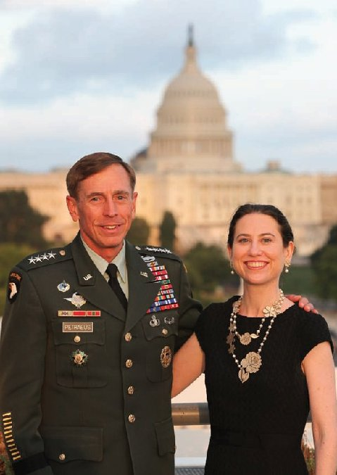 Gen. David Petraeus posing before the U.S. Capitol with Kimberly Kagan, founder and president of the Institute for the Study of War. (Photo credit: ISW's 2011 Annual Report)