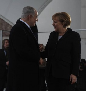 Israeli Prime Minister Benjamin Netanyahu meeting with German Chancellor Angela Merkel in Berlin. (Israeli government photo)