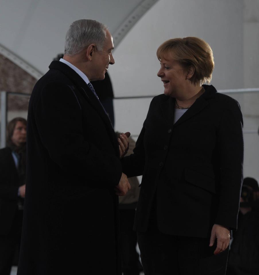 Israeli Prime Minister Benjamin Netanyahu meeting with German Chancellor Angela Merkel in Berlin. (Israeli government photo)