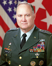 Gen. Norman Schwarzkopf, who commanded U.S. forces during the First Persian Gulf War in 1990-91 and who favored a negotiated settlement that would have avoided a ground war. But he was outmaneuvered and overruled by President George H.W. Bush, with the help of Joint Chiefs of Staff Chairman Colin Powell.