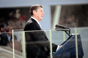 "President Ronald Reagan giving his First Inaugural Address in which he declared, ""government is the problem."""