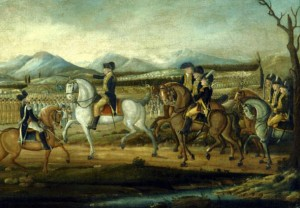 President George Washington, as Commander-in-Chief, leading a combined force of state militias against the Whiskey Rebellion in 1794.