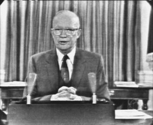 President Dwight Eisenhower delivering his farewell address on Jan. 17, 1961.