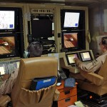 "Done ""pilots"" launch an MQ-1 Predator unmanned aerial vehicle for a raid in the Middle East. (U.S. military photo)"