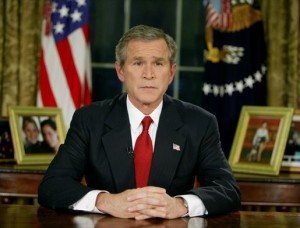 President George W. Bush announcing the launching of the Iraq invasion on March 19, 2003. (White House photo)