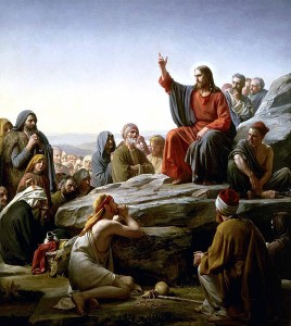 Jesus of Nazareth delivering his Sermon on the Mount as depicted by artist Carl Bloch.