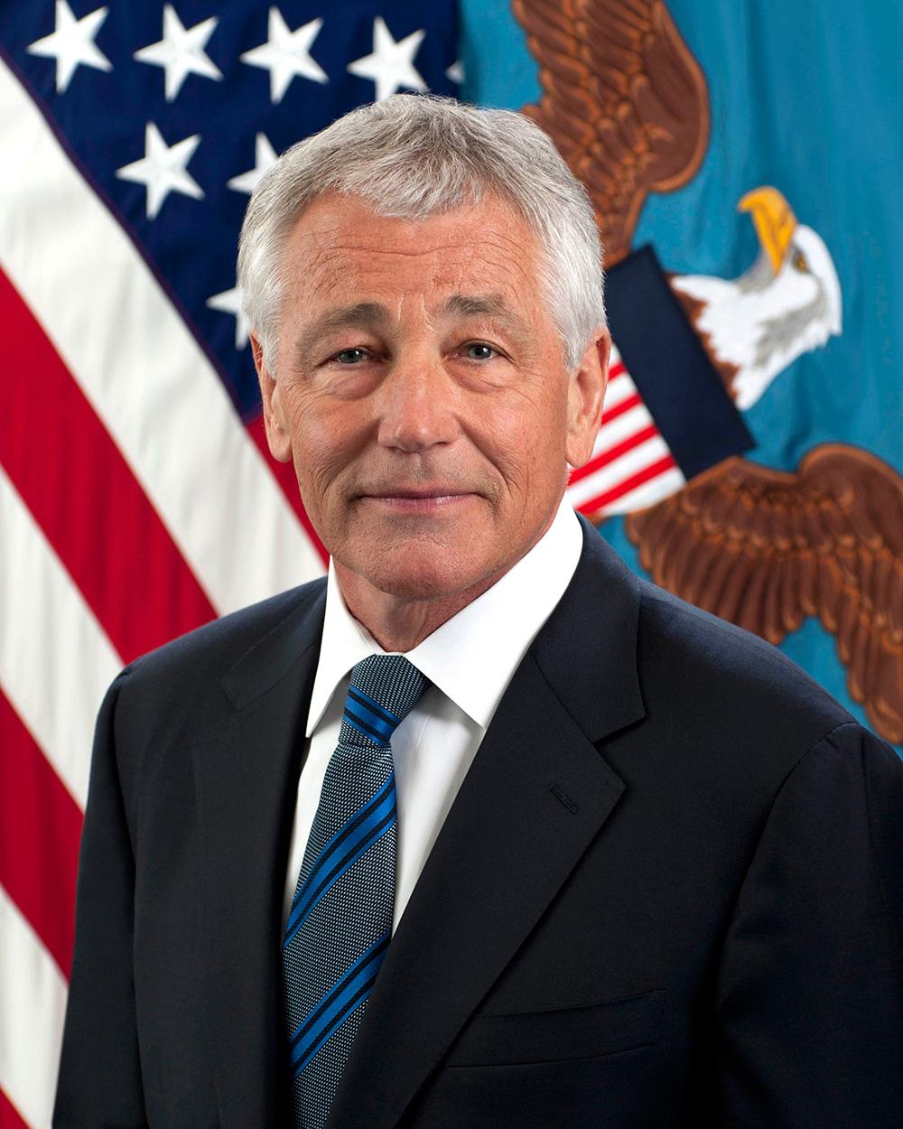 "Defense Secretary Chuck Hagel in his official ""portrait"" at the Pentagon."
