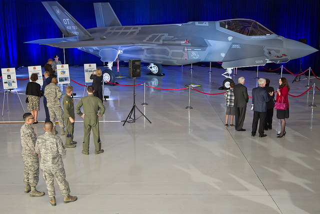 An F 35A Aircraft On Display At The F 35 Arrival Ceremony At Nellis Air  Force Base, Nevada, On March 19, 2013. (Photo Credit: Lockheed Martin)