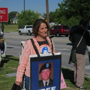 A protester marching in support of whistleblower Bradley Manning.