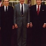 Presidents Richard Nixon, George H.W. Bush and Ronald Reagan photographed together in the Oval Office in 1991. (Cropped from a White House photo that also included Presidents Gerald Ford and Jimmy Carter.)