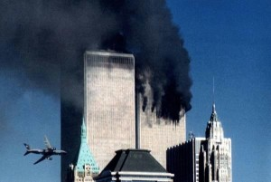 Hijacked plane about to strike the second of New York City's Twin Towers on Sept. 11, 2001.