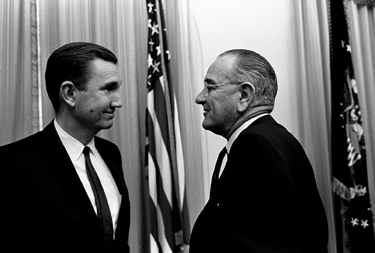 U.S. Attorney General Ramsey Clark with President Lyndon Johnson in 1967. (U.S. Government photo)