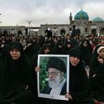 Iranian women attending a speech by Iran's Sup