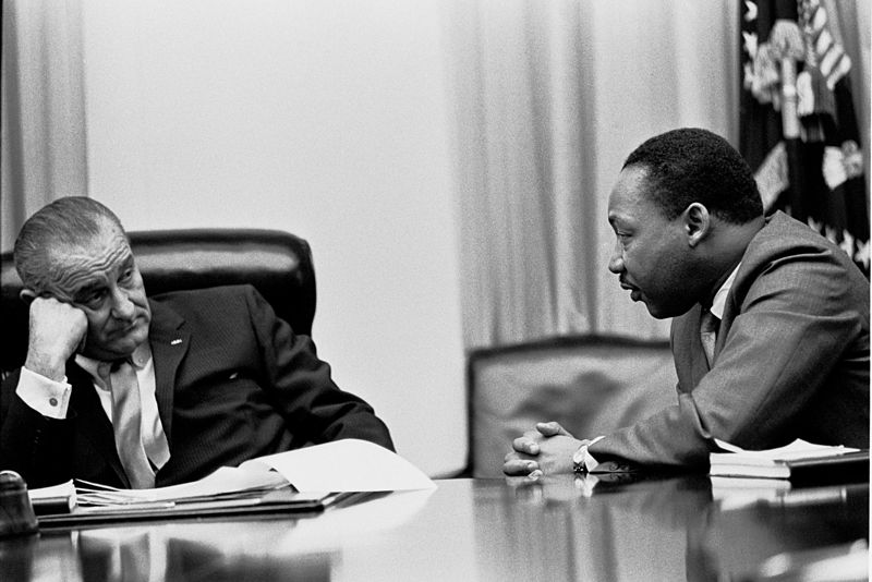 Martin Luther King Jr. meeting with President Lyndon Johnson at the White House in 1966.