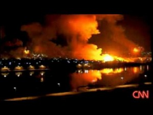 "The U.S. military's ""shock and awe"" bombing of Baghdad at the start of the Iraq War, as broadcast on CNN."