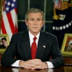 President George W. Bush announcing the start of his invasion of Iraq on March 19, 2003.