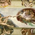 Michelangelo's depiction of God creating Adam, Sistine Chapel, Vatican City.
