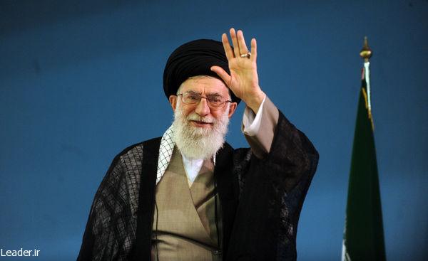 Iran's Supreme Leader Ali Khamenei, waving to a crowd. (Iranian government photo)