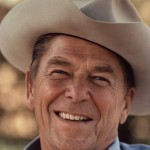 Ronald Reagan photographed in a cowboy hat at Rancho Del Cielo in 1976.