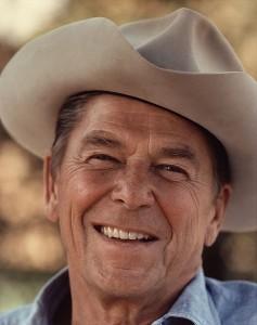 Ronald Reagan photographed in a cowboy hat at Rancho Del Cielo in 1976.