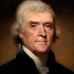 President Thomas Jefferson, who imposed an embargo against both England and France in 1807 with disastrous results for the U.S. economy. (From a portrait by Rembrandt Peale)