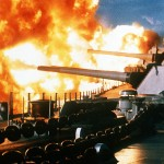 The USS New Jersey firing its guns at Lebanese anti-government strongholds on Jan. 9, 1984, an engagement approved by President Ronald Reagan's White House, setting the stage for a suicide bombing attack on the barracks of U.S. Marines at Beirut's international airport. (U.S. government photo)