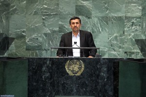 Iran's President Mahmoud Ahmadinejad, speaking before the United Nations General Assembly.