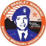 "A ""Free Bradley Manning"" button."