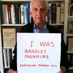 Pentagon Papers whistleblower Daniel Ellsberg, standing up for Pvt. Bradley (now Chelsea) Manning.