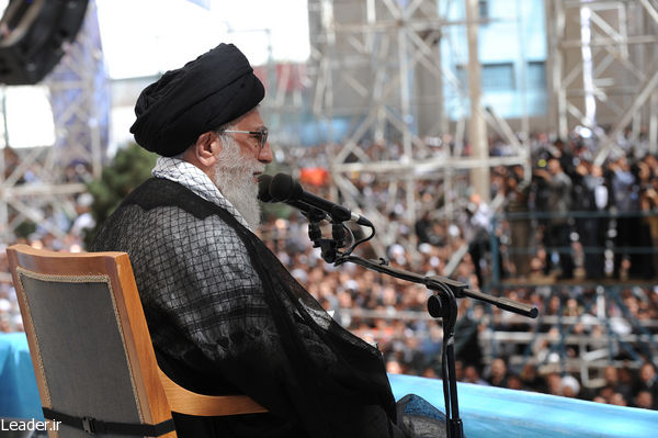 Iran's Supreme Leader Ali Khamenei speaks to a crowd. (Iranian government photo)