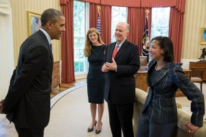 President Barack Obama talks with members of his national security team, from left, UN Ambassador-designate Samantha Power, outgoing National Security Advisor Tom Donilon, and incoming National Security Advisor Susan Rice on June 5, 2013. (Official White House Photo by Pete Souza)