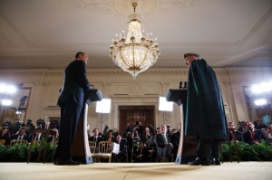 President Barack Obama and President Hamid Karzai of Afghanistan participate in a joint press conference in the East Room of the White House, Jan. 11, 2013. (Official White House Photo by Lawrence Jackson)