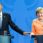 President Barack Obama at a news conference with German Chancellor Angela Merkel on June 19, 2013.