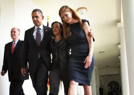 President Barack Obama at the White House with National Security Adviser Susan Rice and Samantha Power (right), his U.N. ambassador. (Photo credit: Pete Souza)