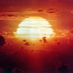A U.S. government photograph of Operation Redwing's Apache nuclear explosion on July 9, 1956.