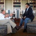 President George W. Bush meeting with then-Saudi Ambassador Prince Bandar bin Sultan at the Bush Ranch in Crawford, Texas. (U.S. government photo)