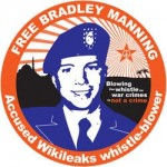 A button urging freedom for Army Pvt. Bradley/Chelsea Manning.