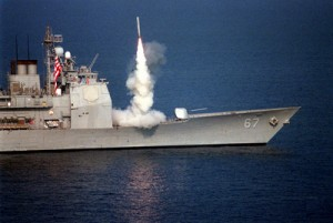 A Tomahawk cruise missile launches from the USS Shiloh against air defense targets in Iraq on Sept. 3, 1996, as part of Operation Desert Strike, a limited U.S. military engagement against Iraqi government forces similar to what is now contemplated for Syria. (DOD photo)