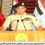 Egyptian General Abdul-Fattah el-Sisi as shown on official Egyptian TV around the time of the coup.