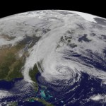 A NASA photograph of super-storm Hurricane Sandy from space.