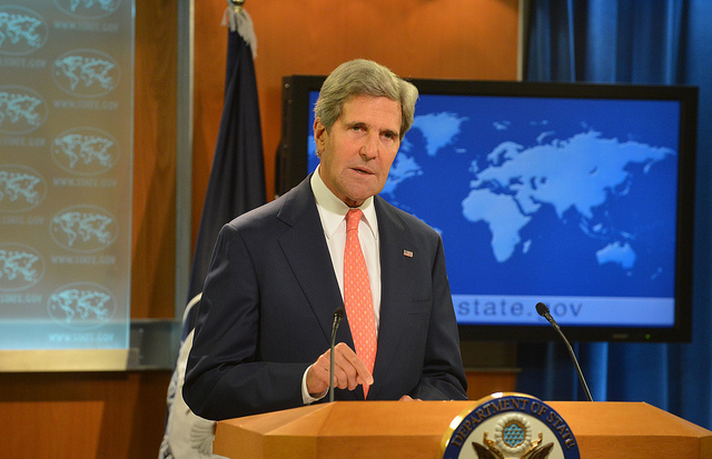 Secretary of State John Kerry delivering remarks on the crisis in Syria. (State Department photo)