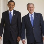 Barack Obama, then President-elect, and President George W. Bush at the Whit
